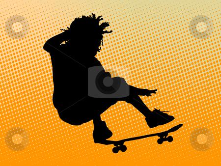 Skating man stock photo, Skating man on orange background by Minka Ruskova-Stefanova