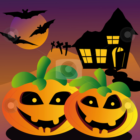 Evil halloween pumpkin stock vector clipart, Evil looking halloween pumpkin with old house on a hill and bats and tombstone by Karin Claus