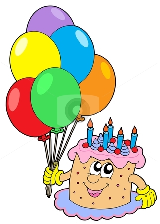 Birthday cake with balloons stock vector clipart, Birthday cake with balloons - vector illustration. by Klara Viskova