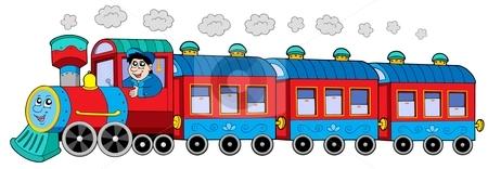 Steam locomotive with engine driver and wagons stock vector clipart, Steam locomotive with engine driver and wagons - vector illustration. by Klara Viskova