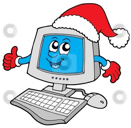 Christmas smiling computer stock vector clipart, Christmas smiling computer - vector illustration. by Klara Viskova