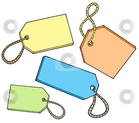 Various color tags for sale stock vector clipart, Various color tags for sale - vector illustration. by Klara Viskova