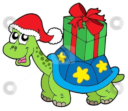 Christmas turtle with gift stock vector clipart, Christmas turtle with gift - vector illustration. by Klara Viskova