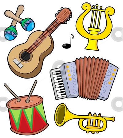 Music instruments collection 1 stock vector clipart, Music instruments collection 1 - vector illustration. by Klara Viskova