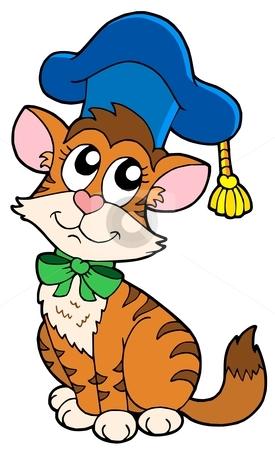 Cat teacher in hat stock vector clipart, Cat teacher in hat - vector illustration. by Klara Viskova