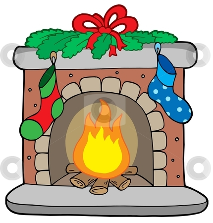 Christmas fireplace with stockings stock vector clipart, Christmas fireplace with stockings - vector illustration. by Klara Viskova
