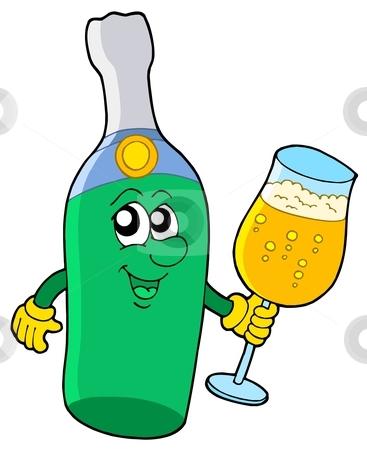 Sparkling wine bottle with glass stock vector clipart, Sparkling wine bottle with glass - vector illustration. by Klara Viskova