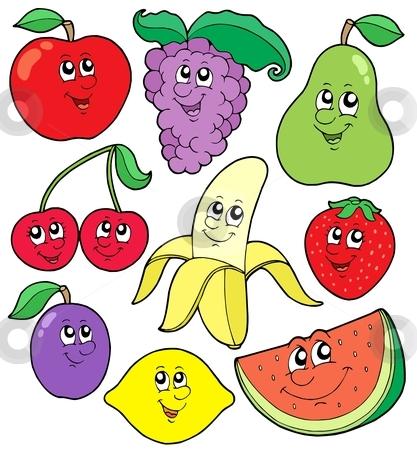 Cartoon fruits collection 1 stock vector clipart, Cartoon fruits collection 1 - vector illustration. by Klara Viskova