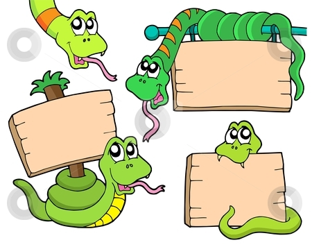 Snakes with wooden signs stock vector clipart, Snakes with wooden signs - vector illustration. by Klara Viskova