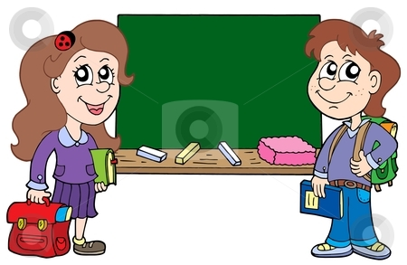 Two pupils with blackboard stock vector clipart, Two pupils with blackboard - vector illustration. by Klara Viskova