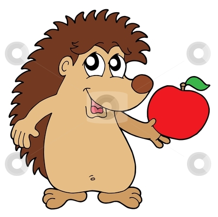 Hedgehog with apple vector illustration stock vector clipart, Hedgehog with apple - vector illustration. by Klara Viskova