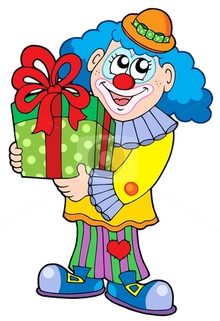 Party clown with gift stock vector clipart, Party clown with gift - vector illustration. by Klara Viskova