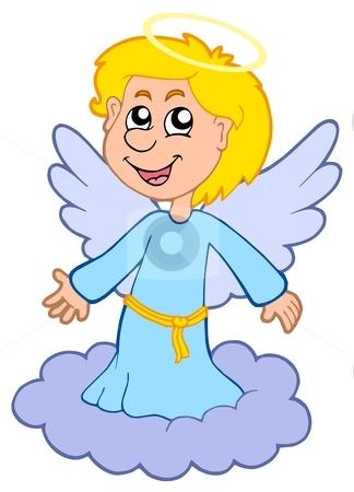 Boy angel on cloud stock vector clipart, Boy angel on cloud - vector illustration. by Klara Viskova