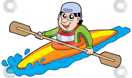 Cartoon kayaker stock vector clipart, Cartoon kayaker on white background - vector illustration. by Klara Viskova