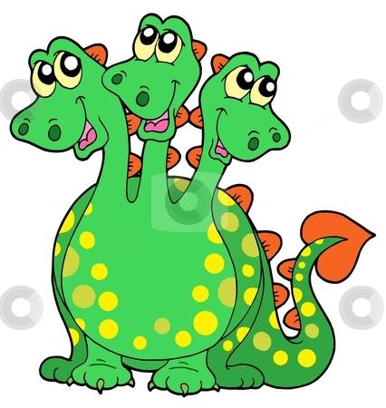 Three headed dragon stock vector clipart, Three headed dragon - vector illustration. by Klara Viskova