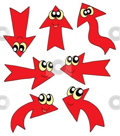 Cute red arrows stock vector clipart, Cute red arrows - vector illustration. by Klara Viskova