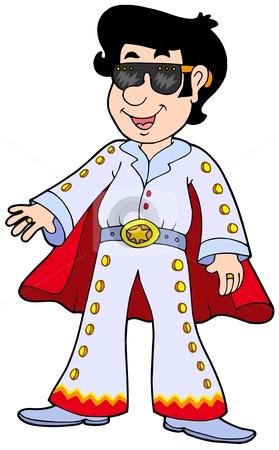 Cartoon Elvis impersonator stock vector clipart, Cartoon Elvis impersonator - vector illustration. by Klara Viskova