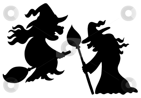 Witch silhouettes stock vector clipart, Witch silhouettes on white background - vector illustration. by Klara Viskova