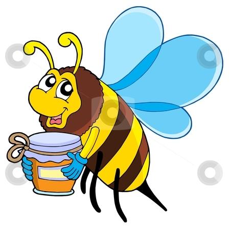 Cute bee with honey stock vector clipart, Cute bee with honey - vector illustration. by Klara Viskova