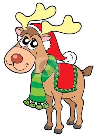 Christmas elk stock vector clipart, Christmas elk on white background - vector illustration. by Klara Viskova