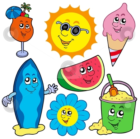 Summer pictures collection stock vector clipart, Summer pictures collection - vector illustration. by Klara Viskova