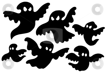 Scary ghost silhouettes vector stock vector clipart, Scary ghost silhouettes - vector illustration. by Klara Viskova