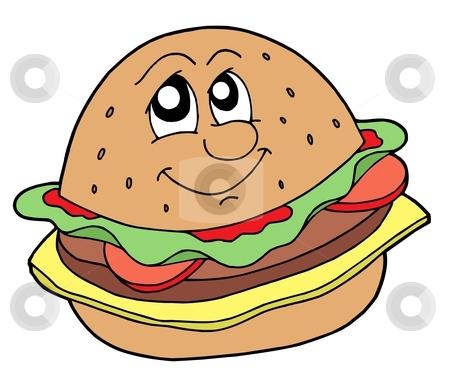 Hamburger vector illustration stock vector clipart, Hamburger with smiling face - vector illustration. by Klara Viskova