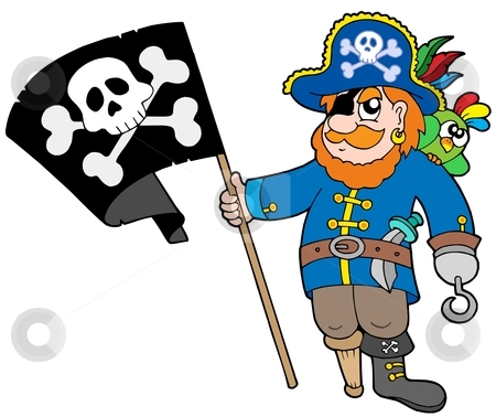 Pirate with flag stock vector clipart, Pirate with flag - vector illustration. by Klara Viskova