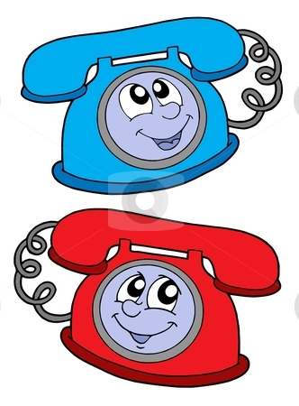 Cute telephones vector illustration stock vector clipart, Cute blue and red telephone - vector illustration. by Klara Viskova