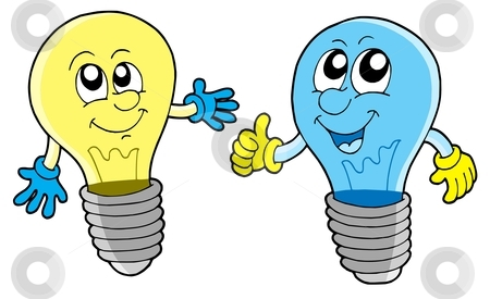 Pair of cute lightbulbs stock vector clipart, Pair of cute lightbulbs - vector illustration. by Klara Viskova
