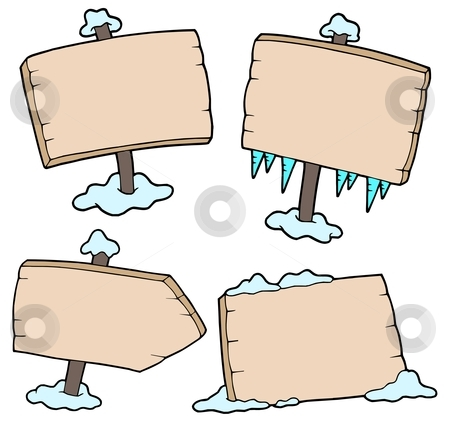 Winter wooden signs stock vector clipart, Winter wooden signs - vector illustration. by Klara Viskova