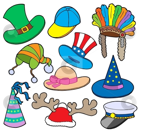 Various hats collection 2 stock vector clipart, Various hats collection 2 - vector illustration. by Klara Viskova