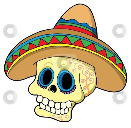 Mexican skull in sombrero stock vector clipart, Mexican skull in sombrero - vector illustration. by Klara Viskova