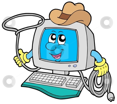 Cowboy computer stock vector clipart, Cowboy computer on white background - vector illustration. by Klara Viskova