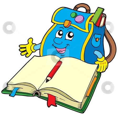 School bag reading book stock vector clipart, School bag reading book - vector illustration. by Klara Viskova