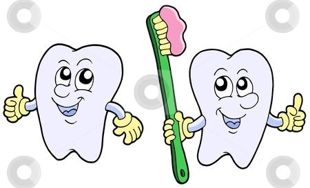 Pair of cartoon teeth stock vector clipart, Pair of cartoon teeth - vector illustration. by Klara Viskova