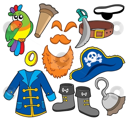 Pirate clothes collection stock vector clipart, Pirate clothes collection - vector illustration. by Klara Viskova