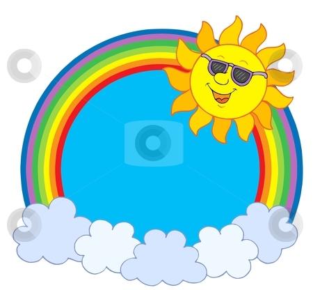 Sun in sunglasses in rainbow circle stock vector clipart, Sun in sunglasses in rainbow circle - vector illustration. by Klara Viskova