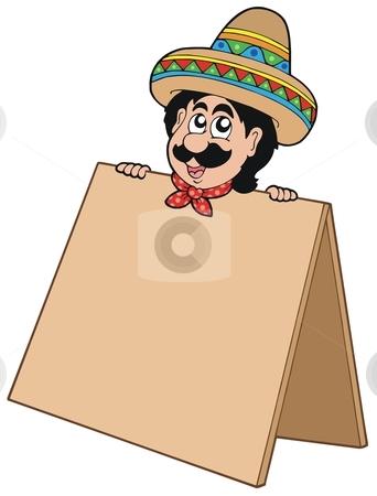 Mexican man with table stock vector clipart, Mexican man with table - vector illustration. by Klara Viskova