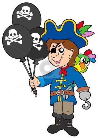 Pirate boy with balloons stock vector clipart, Pirate boy with balloons - vector illustration. by Klara Viskova
