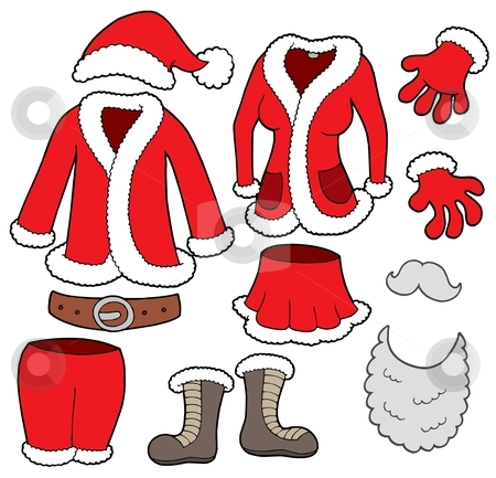 Santa Clauses clothes collection stock vector clipart, Santa Clauses clothes collection - vector illustration. by Klara Viskova