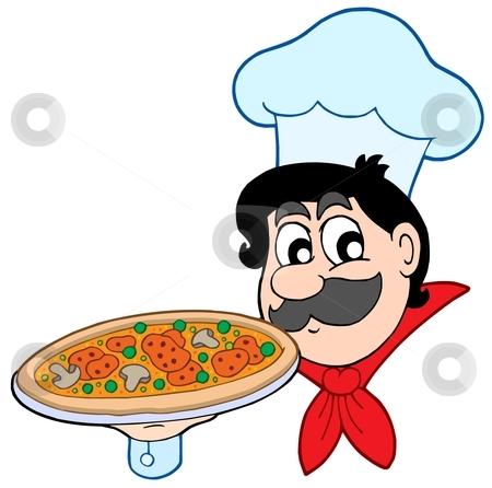 Cartoon chef with pizza stock vector clipart, Cartoon chef with pizza - vector illustration. by Klara Viskova