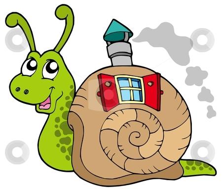 Snail with shell house stock vector clipart, Snail with shell house - vector illustration. by Klara Viskova