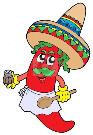 Mexican chilli chef stock vector clipart, Mexican chilli chef - vector illustration. by Klara Viskova