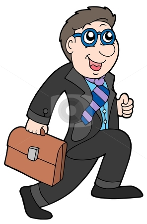 Running businessman stock vector clipart, Running businessman on white background - vector illustration. by Klara Viskova