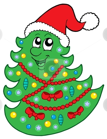 Cute Christmas Tree With Hat Stock Vector