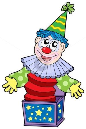 Cartoon clown in box stock vector clipart, Cartoon clown in box - vector illustration. by Klara Viskova