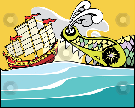 Chinese Junk and Sea Monster. stock vector clipart, Chinese Junk being threatened by a huge sea monster. by Jeffrey Thompson