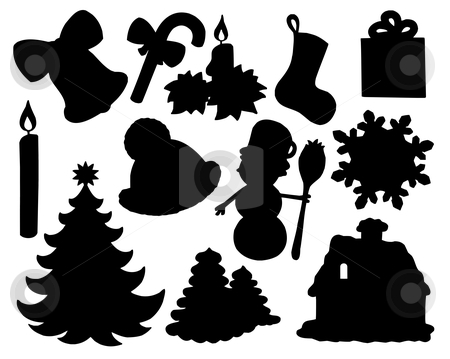 Christmas silhouette collection 02 stock vector clipart, Christmas silhouette collection 02 - vector illustration. by Klara Viskova