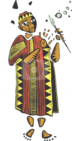 Paintbrush stock vector clipart, An African man dressed in colorful clothing holds a paintbrush. by Jeffrey Thompson
